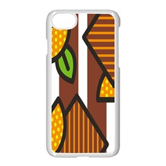 Chocolate Lime Brown Circle Line Plaid Polka Dot Orange Green White Apple Iphone 7 Seamless Case (white) by Mariart