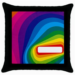 Circle Rainbow Color Hole Rasta Waves Throw Pillow Case (black) by Mariart