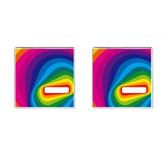 Circle Rainbow Color Hole Rasta Waves Cufflinks (square) by Mariart