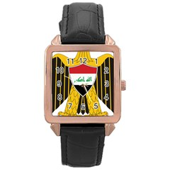 Coat Of Arms Of Iraq  Rose Gold Leather Watch  by abbeyz71