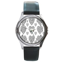 Black Paw Hearts Love Animals Round Metal Watch by Mariart