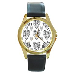 Black Paw Hearts Love Animals Round Gold Metal Watch by Mariart