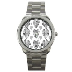 Black Paw Hearts Love Animals Sport Metal Watch by Mariart