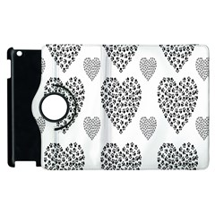 Black Paw Hearts Love Animals Apple Ipad 3/4 Flip 360 Case by Mariart