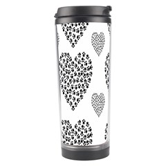 Black Paw Hearts Love Animals Travel Tumbler by Mariart