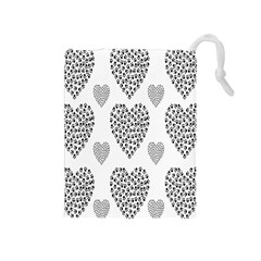 Black Paw Hearts Love Animals Drawstring Pouches (medium)  by Mariart