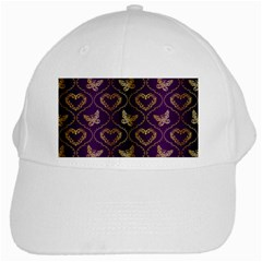 Flower Butterfly Gold Purple Heart Love White Cap by Mariart