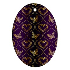 Flower Butterfly Gold Purple Heart Love Ornament (oval) by Mariart