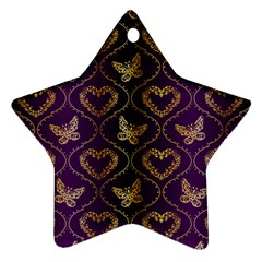 Flower Butterfly Gold Purple Heart Love Ornament (star)