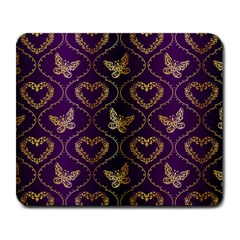 Flower Butterfly Gold Purple Heart Love Large Mousepads by Mariart