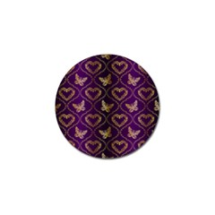 Flower Butterfly Gold Purple Heart Love Golf Ball Marker (10 Pack) by Mariart