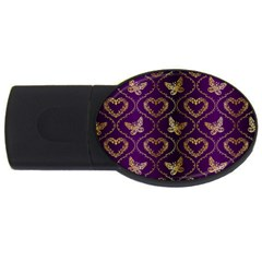 Flower Butterfly Gold Purple Heart Love Usb Flash Drive Oval (2 Gb) by Mariart