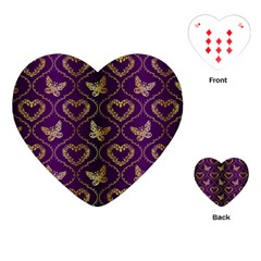 Flower Butterfly Gold Purple Heart Love Playing Cards (heart)  by Mariart