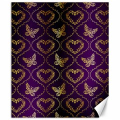 Flower Butterfly Gold Purple Heart Love Canvas 8  X 10  by Mariart