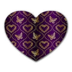 Flower Butterfly Gold Purple Heart Love Heart Mousepads by Mariart