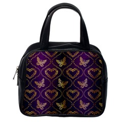 Flower Butterfly Gold Purple Heart Love Classic Handbags (one Side) by Mariart