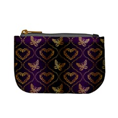 Flower Butterfly Gold Purple Heart Love Mini Coin Purses by Mariart