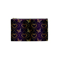 Flower Butterfly Gold Purple Heart Love Cosmetic Bag (small)  by Mariart