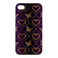 Flower Butterfly Gold Purple Heart Love Apple Iphone 4/4s Hardshell Case by Mariart