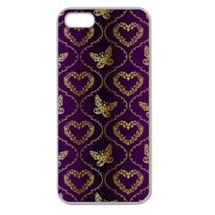 Flower Butterfly Gold Purple Heart Love Apple Seamless Iphone 5 Case (clear) by Mariart