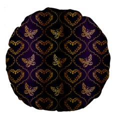 Flower Butterfly Gold Purple Heart Love Large 18  Premium Round Cushions by Mariart
