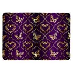 Flower Butterfly Gold Purple Heart Love Samsung Galaxy Tab 8 9  P7300 Flip Case by Mariart