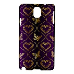 Flower Butterfly Gold Purple Heart Love Samsung Galaxy Note 3 N9005 Hardshell Case by Mariart