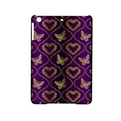 Flower Butterfly Gold Purple Heart Love Ipad Mini 2 Hardshell Cases by Mariart