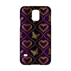 Flower Butterfly Gold Purple Heart Love Samsung Galaxy S5 Hardshell Case  by Mariart