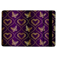 Flower Butterfly Gold Purple Heart Love Ipad Air Flip by Mariart