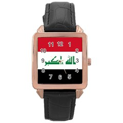 Flag Of Iraq  Rose Gold Leather Watch  by abbeyz71