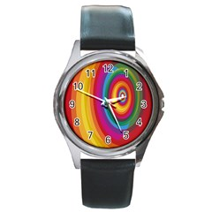 Circle Rainbow Color Hole Rasta Round Metal Watch by Mariart