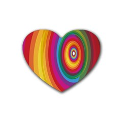 Circle Rainbow Color Hole Rasta Rubber Coaster (heart)  by Mariart