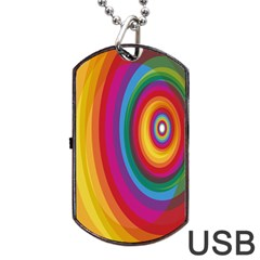 Circle Rainbow Color Hole Rasta Dog Tag Usb Flash (one Side) by Mariart