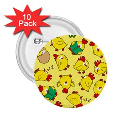 Animals Yellow Chicken Chicks Worm Green 2 25  Buttons (10 Pack)