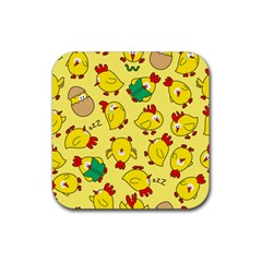 Animals Yellow Chicken Chicks Worm Green Rubber Coaster (square)  by Mariart