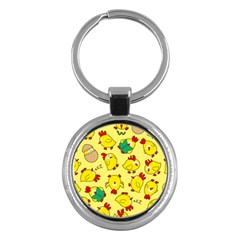 Animals Yellow Chicken Chicks Worm Green Key Chains (round)  by Mariart