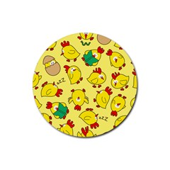 Animals Yellow Chicken Chicks Worm Green Rubber Round Coaster (4 Pack)  by Mariart