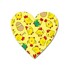 Animals Yellow Chicken Chicks Worm Green Heart Magnet by Mariart