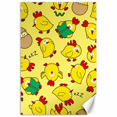 Animals Yellow Chicken Chicks Worm Green Canvas 24  X 36  by Mariart