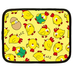 Animals Yellow Chicken Chicks Worm Green Netbook Case (large) by Mariart