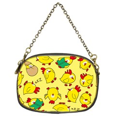 Animals Yellow Chicken Chicks Worm Green Chain Purses (two Sides)  by Mariart