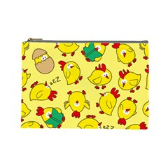 Animals Yellow Chicken Chicks Worm Green Cosmetic Bag (large)