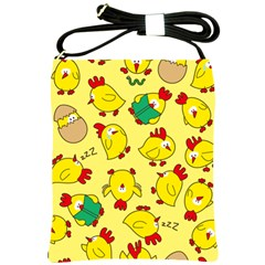 Animals Yellow Chicken Chicks Worm Green Shoulder Sling Bags by Mariart
