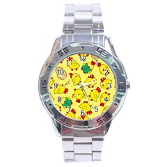 Animals Yellow Chicken Chicks Worm Green Stainless Steel Analogue Watch by Mariart