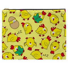 Animals Yellow Chicken Chicks Worm Green Cosmetic Bag (xxxl)  by Mariart
