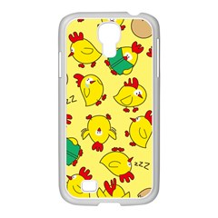 Animals Yellow Chicken Chicks Worm Green Samsung Galaxy S4 I9500/ I9505 Case (white) by Mariart
