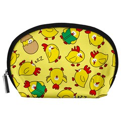 Animals Yellow Chicken Chicks Worm Green Accessory Pouches (large)  by Mariart