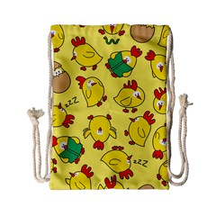 Animals Yellow Chicken Chicks Worm Green Drawstring Bag (small) by Mariart