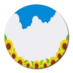 Cloud Blue Sky Sunflower Yellow Green White Round Mousepads by Mariart